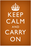 Keep Calm and Carry On (Motivational, Faded Brown) Art Poster Print Poster