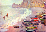 Claude Monet Etretat the Beach and La Porte d&#39;Amont Art Print Poster Posters