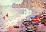 Claude Monet Etretat the Beach and La Porte d'Amont Art Print Poster Posters