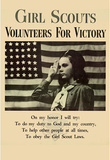 Girl Scouts Volunteers for Victory WWII War Propaganda Art Print Poster Masterprint