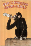 Monkey Drinking Liquor Vintage Ad Art Print Poster Posters