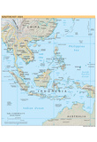 Map of Southeast Asia (Political) Art Poster Print Posters