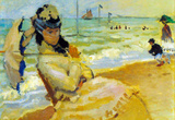 Claude Monet Camille on the Beach at Trouville Art Print Poster Masterprint