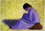 Georges Seurat Peasant Woman Seated in the Grass Art Print Poster Poster
