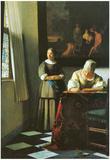 Johannes Vermeer Woman with Messenger Art Print Poster Prints