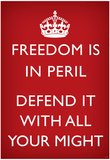 Freedom is in Peril, Defend It With All Your Might (Motivational, Red) Art Poster Print Prints