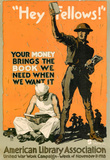 Hey Fellows American Library Association WWI War Propaganda Art Print Poster Masterprint