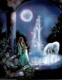 Gina Femrite Moonlit Garden Unicorn Art Print POSTER Masterprint