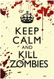 Keep Calm and Kill Zombies Humor Print Poster Prints