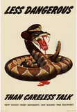Less Dangerous Than Careless Talk Snake WWII War Propaganda Art Print Poster Masterprint