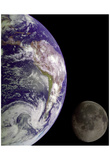 Earth and Moon (From Space) Art Poster Print Prints