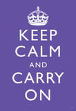 Keep Calm and Carry On (Motivational, Purple) Art Poster Print Masterprint