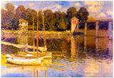 Claude Monet Bridge at Argenteuil Art Print Poster Prints