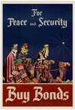 For Peace and Security Buy Bonds WWII War Propaganda Art Print Poster Prints