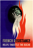 French Resistance Helps Throttle the Boche WWII War Propaganda Art Print Poster Prints
