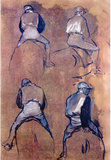 Edgar Degas Four Studies of Jockeys Art Print Poster Masterprint