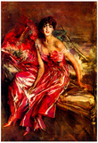 Giovanni Boldini Lady in Red Art Print Poster Poster