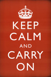 Keep Calm and Carry On (Motivational, Faded Red) Art Poster Print Masterprint