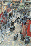 Childe Hassam Flags on Fifth Avenue Winter 1918 Art Print Poster Print