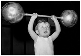 Child Lifting Weights Archival Photo Sports Poster Print Posters