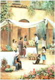 Mexican Girl Flower Stand Art Print POSTER south west Prints