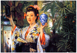 James Jacques Joseph Tissot A Young Woman holds Japanese Goods Art Print Poster Posters