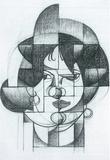 Juan Gris Head of Germaine Raynal Art Sketch Poster Masterprint