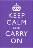 Keep Calm and Carry On (Motivational, Purple) Art Poster Print Photo