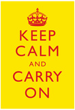 Keep Calm and Carry On Motivational Yellow Art Print Poster Prints