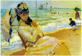 Claude Monet Camille on the Beach at Trouville Art Print Poster Posters