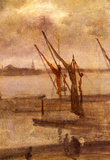 James Whistler Dockyard of Chelsea Grey and Silver Art Print Poster Masterprint