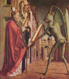 Michael Pacher (Fathers of the Church Altar, right wing outside, scene below: St. Wolfgang and the Photo