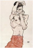 Egon Schiele (Male Nude with a red cloth) Art Poster Print Posters