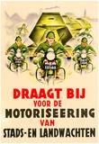 Draagt Bij voor de Motoriseering van Stads en Landwachten WWII War Propaganda Art Print Poster Prints
