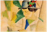 August Macke The Wife of the Painter, Reading Art Print Poster Posters