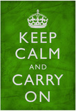 Keep Calm and Carry On (Motivational, Green, Wrinkled) Art Poster Print Plakát