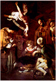 Michelangelo Caravaggio Birth of Christ with St Lawrence and St Francis Art Print Poster Posters
