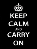 Keep Calm and Carry On (Motivational, Black) Art Poster Print Masterprint