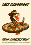 Less Dangerous Than Careless Talk Snake WWII War Propaganda Art Print Poster Plakaty