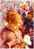Pierre-Auguste Renoir Woman Embroidering Art Print Poster Prints
