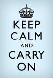 Keep Calm and Carry On (Motivational, Faded Light Blue) Art Poster Print Masterprint