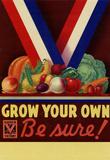 Grow Your Own Be Sure Safe Food WWII War Propaganda Art Print Poster Masterprint