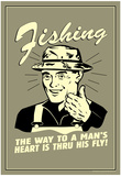 Fishing Way To Man's Heart Through His Fly Funny Retro Poster Posters