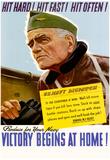 Hit Hard! Hit Fast! Hit Often! Victory Begins at Home Navy WWII War Propaganda Art Print Poster Prints