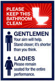 Clean Bathrooms Ladies Gentlemen Sign Art Print Poster Masterprint