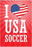I Love USA Soccer (World Cup, Red) Sports Poster Print Print