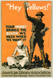 Hey Fellows American Library Association WWI War Propaganda Art Print Poster Print
