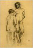 Henri de Toulouse-Lautrec Naked Couple with Woman Sitting Sketch Art Print Poster Prints