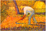 Georges Seurat Farmer with Hoe Art Print Poster Poster