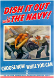 Dish It Out with the Navy WWII War Propaganda Art Print Poster Posters